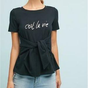 Anthropologie Postmark Cest Le Vie Tie Front Top